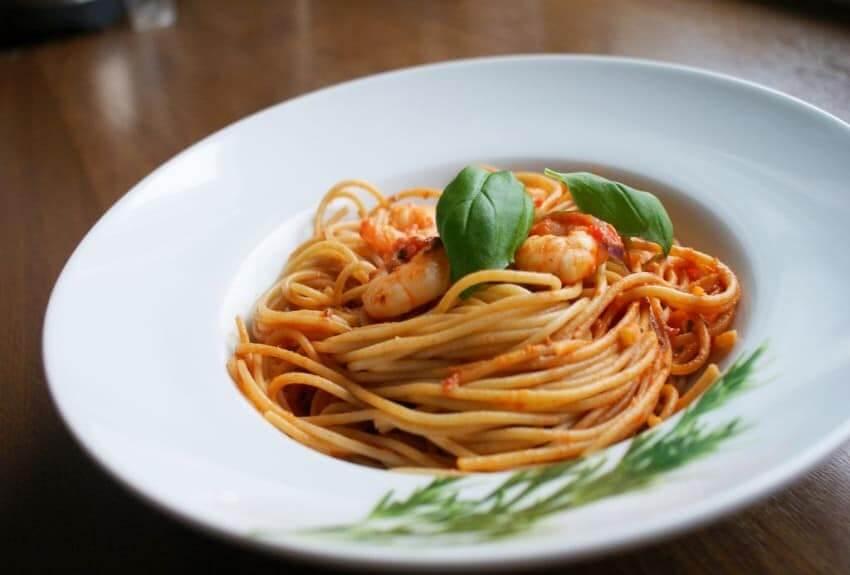 Chia Spaghetti mit Garnelen