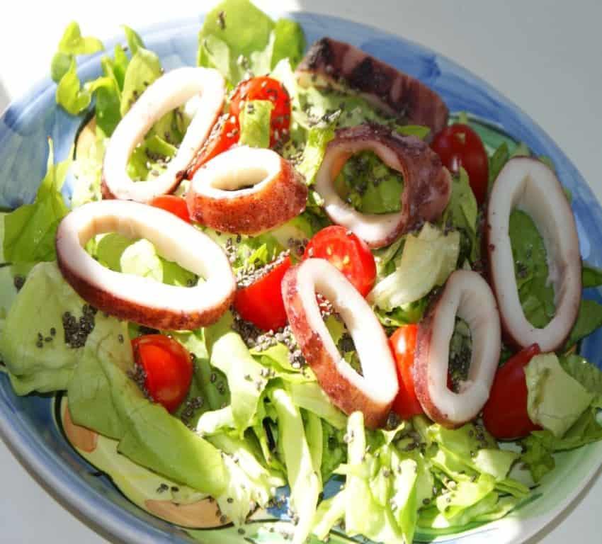 Chia Tintenfisch Salat
